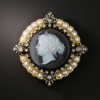 French Antique Hardstone Diamond Pearl Cameo Brooch  - 2