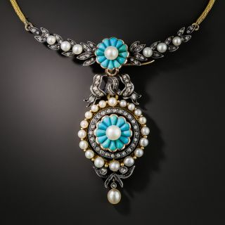 French Antique Turquoise Pearl and Diamond Necklace - 2