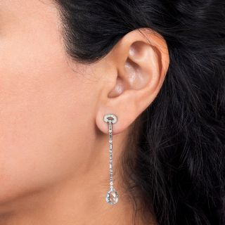 French Aquamarine Briolette and Diamond Drop Earrings
