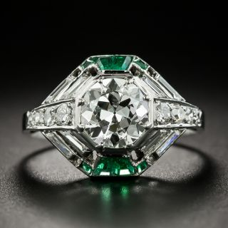 French Art Deco 1.35 Carat Diamond and Calibre Emerald Engagement Ring - 2
