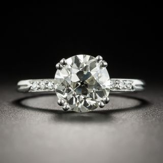 French Art Deco 2.12 Carat European-Cut Diamond Solitaire Engagement Ring - GIA M  VS1 (GIA)  - 2