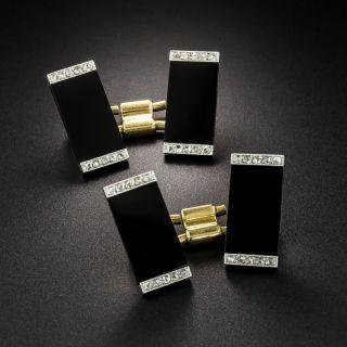French Art Deco Black Onyx and Diamond Cufflinks - 2