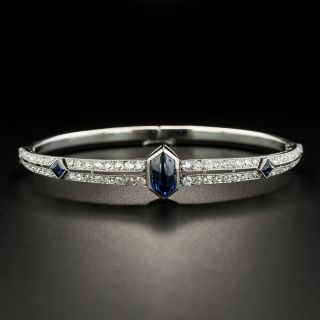 French Art Deco Cabochon Sapphire and Diamond Bangle Bracelet - 2