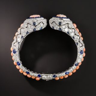 French Art Deco Coral, Diamond and Sapphire Bangle - 6