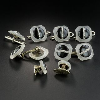 French Art Deco Crystal, Onyx and Diamond 8 Piece Dress Set