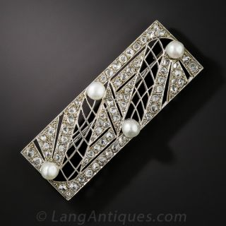 French Art Deco Diamond and Natural Pearl Pin