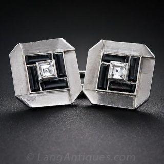 French Art Deco Diamond and Onyx Cufflinks