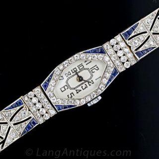 French Art Deco Diamond and Sapphire Ladies Dress Watch