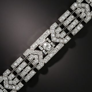 Art Deco Diamond and Black Enamel Link Bracelet