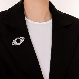 French Art Deco Diamond Sapphire Brooch