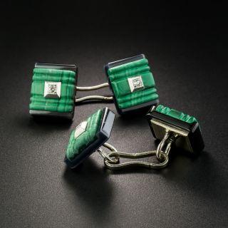 French Art Deco Malachite, Onyx and Diamond Cufflinks