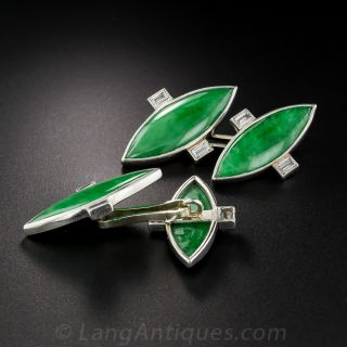 French Art Deco Natural Jadeite and Diamond Platinum Cufflinks
