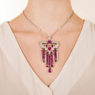 Art Deco No-Heat Ruby Platinum Diamond Necklace - GIA
