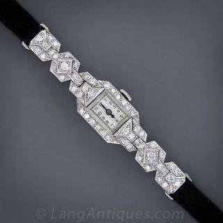 French Art Deco Platinum and Diamond Half-Bracelet Watch - 2