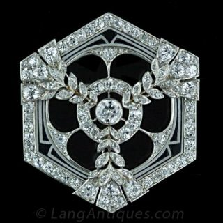 Art Deco Diamond and Enamel Hexagonal Pin Main View