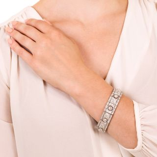 French Art Deco Platinum Diamond Bracelet