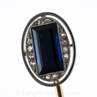 French Art Deco Sapphire and Diamond Stickpin