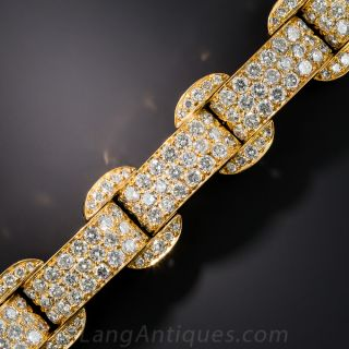 French Art Deco Style Diamond and Black Enamel Bracelet - 2