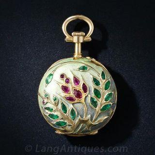 French Art Nouveau Enamel and Gem Set Miniature Pendant Watch - 1