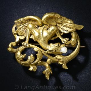 French Art Nouveau Griffin Brooch