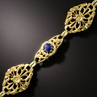 French Art Nouveau Sapphire and Diamond Bracelet - 1