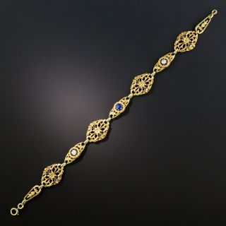 French Art Nouveau Sapphire and Diamond Bracelet