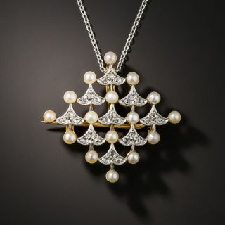French Belle Epoch Natural Pearl and Diamond Pin/Pendant - 2