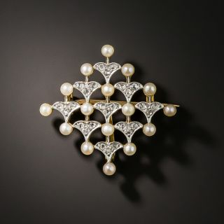 French Belle Epoch Natural Pearl and Diamond Pin/Pendant