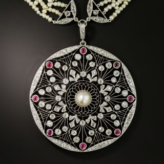 French Belle Epoque Diamond, Ruby, and Natural Pearl Sautoir - 3