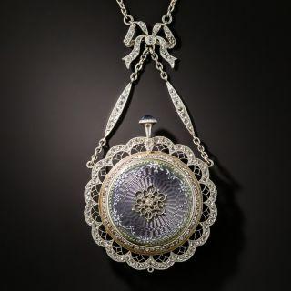 French Belle Epoque Guilloche Enamel Pendant Watch Necklace - 3