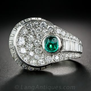 French Cabochon Emerald Ring and Diamond Ring