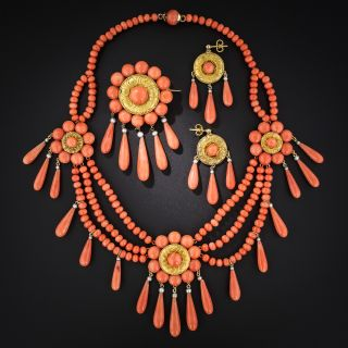 French Coral Three-Piece Necklace