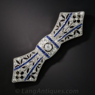 French Deco Diamond and Sapphire Bow Pin