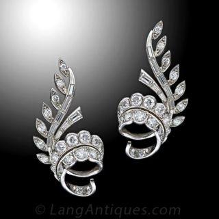 French Diamond Ear Clips, Circa 1950's - 1