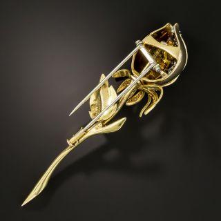 French Diamond Enamel Flower Bud Brooch