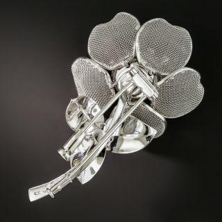 French Diamond Platinum Articulated Flower Brooch