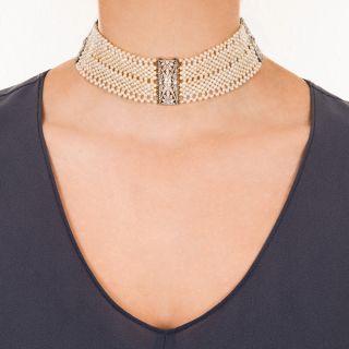 French Edwardian Diamond and Seed Pearl Choker