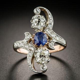 French <em>Belle Époque</em> Sapphire and Diamond Dinner Ring - 1