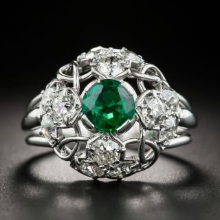 French Emerald Diamond Dome Ring - 1