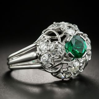French Emerald Diamond Dome Ring