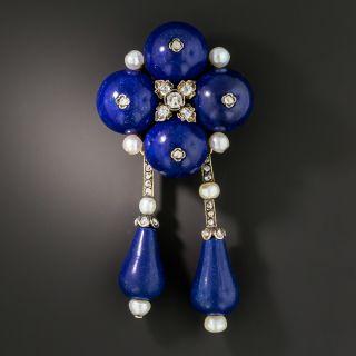 French Lapis Lazuli Diamond Pearl Pendant/Brooch - 2