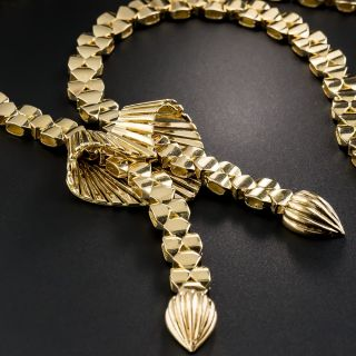 French Mid-Century 18K Gold Negligee Necklace - 4