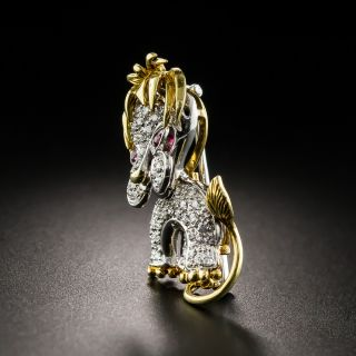 French Mid-Century Diamond and Ruby Lion Cub Brooch