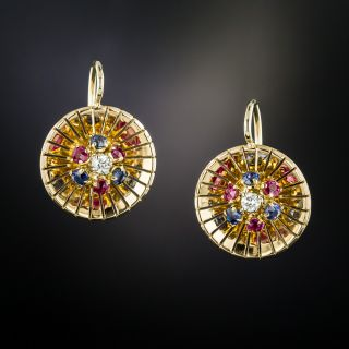 French Mid-Century Multi-Gem Earrings - 3