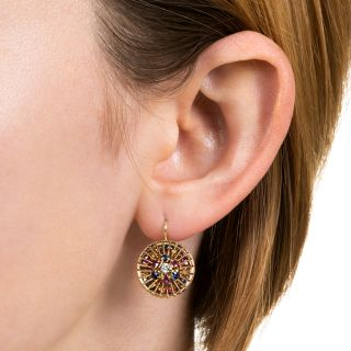 French Mid-Century Multi-Gem Earrings