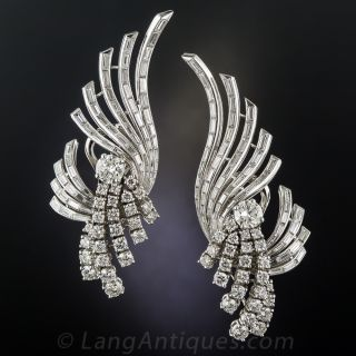 French Mid-Century Platinum and Diamond Earrings - 1