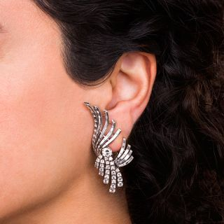 French Mid-Century Platinum and Diamond Earrings
