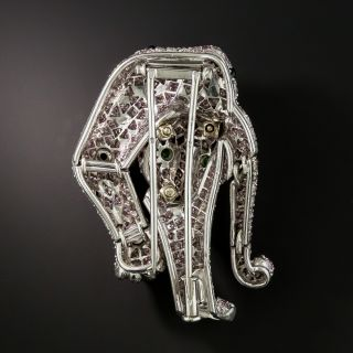 French Pink Panther Diamond Brooch