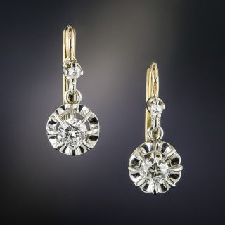 French Platinum .50 Carat Diamond Dangle Earrings - 1