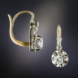 French Platinum .50 Carat Diamond Dangle Earrings